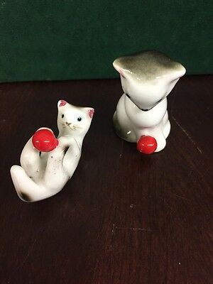 Vintage Porcelain cat figurines playing with red balls  1 1/2""