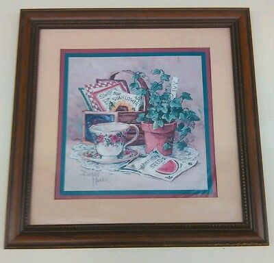 """Home Interior Picture Tea Cup & Seed Packages by Barbara Mock 14""""x14"""""""