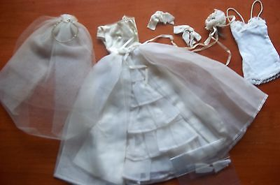 """VINTAGE AUTHENTIC WEDDING DRESS AND ACCESSORIES TAGGED """"By Mattel"""""""
