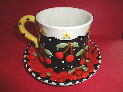 Mary Engelbreit Very Cherry Cup & Saucer Set Beautifully Embellished Red Black