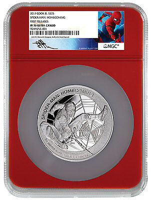 2017 Marvel Spider-Man Homecoming 5 oz Silver $25 Red NGC PF70 UC FR SKU48306