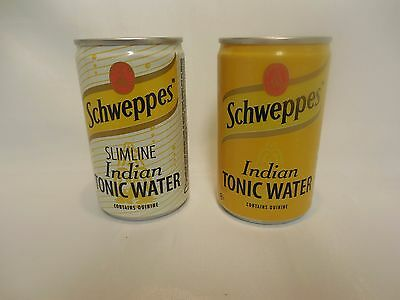 """2 Schweppes  Tonic Water 150 ML Empty Cans.3 1/2""""tall"""