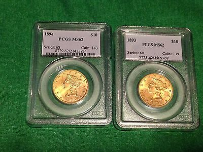 1893 and 1894 $10 Liberty Gold Eagle Coins MS-62 NGC