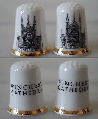 Pair Lot two Winchester Cathedral Thimble Souvenir Hampshire England Gothic