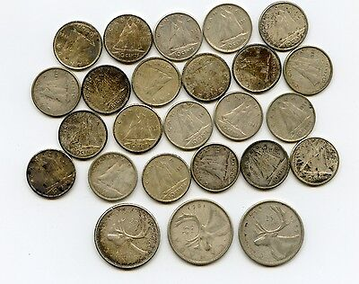 Lot of 25 Canada  80%  silver coins 22 Dimes 1951-66 ; 3 Quarters 1957-62