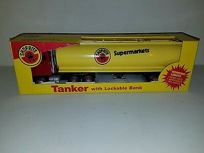 Vintage 1989 Shop Rite Markets Tanker truck With Lockable Bank in original box