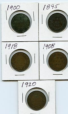 Lot of 5 Canada Large Cents 1895, 1900, 1908, 1918, 1920