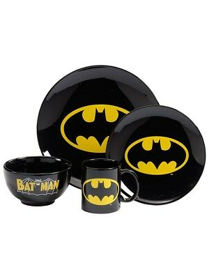 Batman Logo 4 Piece Black Dinner Set