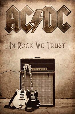 AC/DC In Rock We Trust Brown Textile Flag