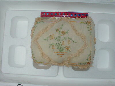 Vintage 1920's Lace Boudoir Embroidered Pillow - Rectangle Shape
