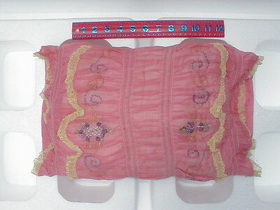 VINTAGE 1920'S LACE BOUDOIR EMBROIDERED PILLOW - SQUARE SHAPE (b