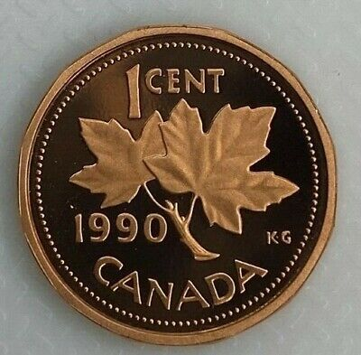 1990 Canada 1 Cent Proof Penny Heavy Cameo Coin