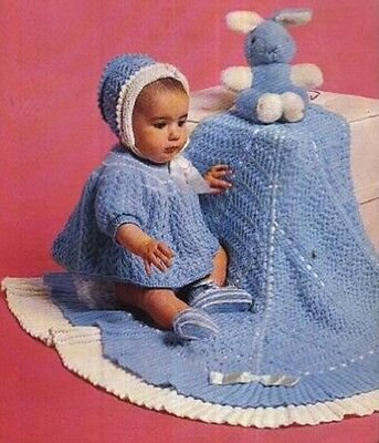 Vintage Baby Knitting Pattern  copy Dress Bonnet bootees  UNUSUAL Design SHAWL