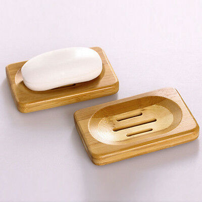 Natural Bamboo Wood Soap Dish Storage Holder Bath Shower Plate Kitchen Bathroom