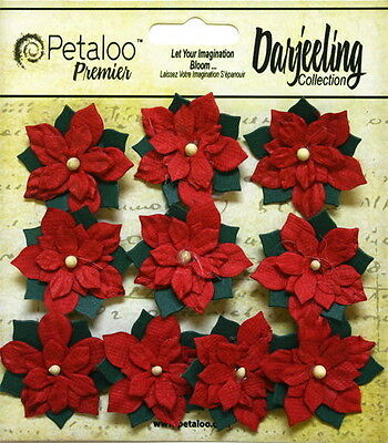 POINSETTIA Flowers & Leaves RED with IVORY Centre - PAPER 10 Pk 30mm Petaloo Ver