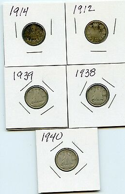 Lot of 5 Canada Dimes Ten Cent 1912, 1914, 1938, 1939, 1940 Silver