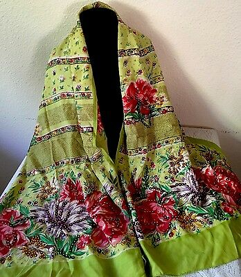 Vintage 1950's Silk Hand Rolled Summer Scarf With Sequence Floral, Bright!