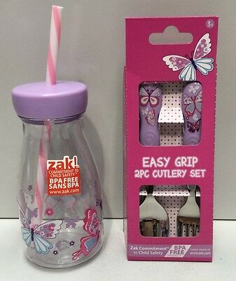 Butterfly Petal Zak Designs Kids Easy Grip Cutlery & Drink Bottle