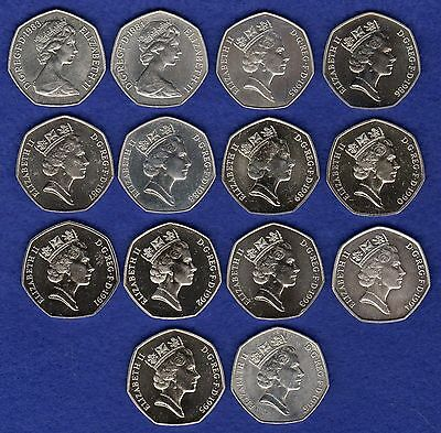 Great Britain, 50p, 50 Pence Coin, 1982 - 1994, BU, UNC, Choose the Year