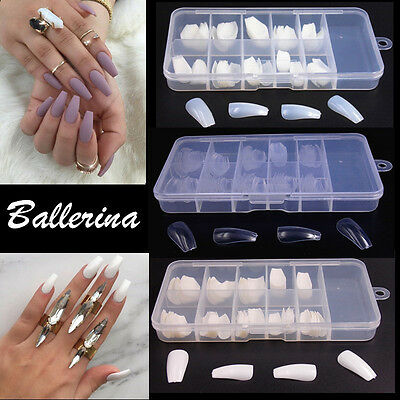 100X Womens Ballerina Nail Tips Coffin Shape False Fake Nails Acrylic UV Gel