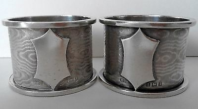 Pair Hallmarked Sterling Silver Napkin Rings 68 Grams William Davenport 1910
