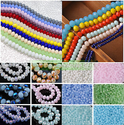 3mm/4mm/6mm/8mm/10mm Jade Rondelle Faceted Czech Crystal Glass Spacer Beads DIY