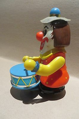 "Vintage - fully working drumming / moving wind up 7"" clown toy"