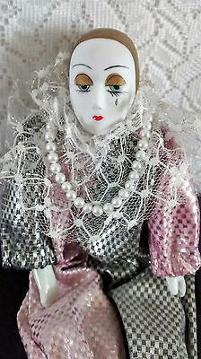 Vintage Hand Painted Porcelain Female Harlequin Doll Lace Collar Faux Pearls