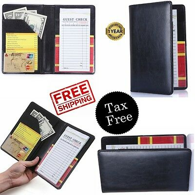 Waiter Book Server Restaurant Waitstaff Pocket Fit Organizer Holder Black Cater