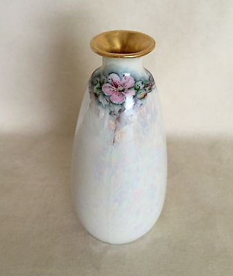 Antique MZ Austria Porcelain Mini Vase Hand Painted Roses Mother of Pearl Signed