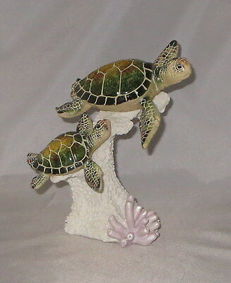 Sea Turtles Figurine Green Mom Baby Swimming Coral Reef Water Animals Wild New