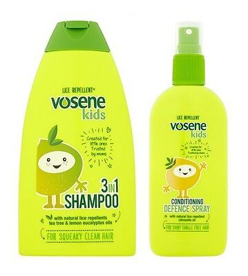 Head Lice Repellent 3 In 1 Shampoo Conditioning Defence Spray Kids Nits Vosene
