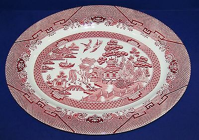 "Beautiful Churchill England Rosa Pink Willow 14 1/2"" Oval Serving Platter"