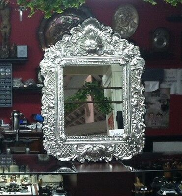 Reproduction Sterling Silver Vintage Antique Victorian Design Wall /Table Mirror