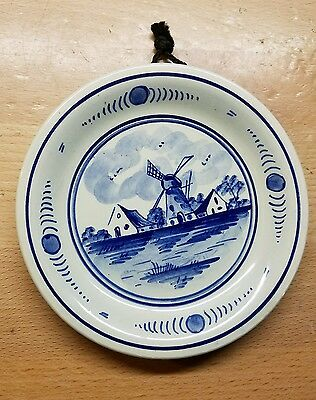 Vintage Hand Painted Blue White Delft Made in Holland hanging Plate WINDMILL
