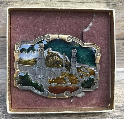 Koleaco Original Vintage Brass Belt Buckle Crude Oil Field Enameled Western USA