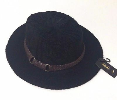 Women's Fashion Wide Brim Floppy Elegant Trilby Cap Panama Hat Black