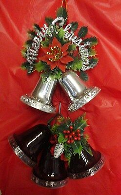 Christmas 4'' bell sets  two sliver two red   Vintage plastic displays  1980's