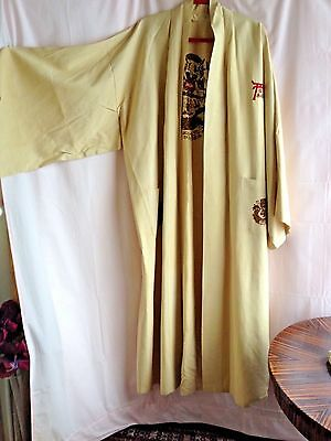 Vintage Japanese Embroidered Men's Kimono Robe W Belt Size L