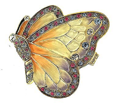 Butterfly Jewelry Trinket Box 5156 Enameled Hinged Crystals Metal Collectible