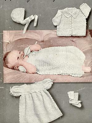 Vintage Baby Crochet Pattern dress coat bonnet bootees mittens 2 ply