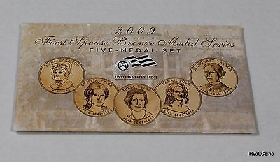 2009 First Spouse Bronze Medal Series 5 Medal Set U.S. Mint Envelope & COA