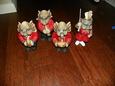 "Lot Of 4 Vintage Elephants In Marching Band Drums Majorette Sax Cymbals 8"" - 10"""