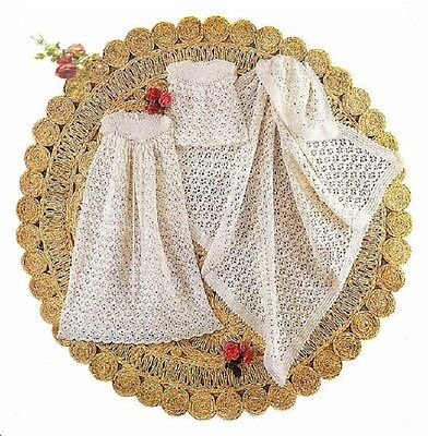 Vintage Baby Knitting Pattern SHAWL Short & Long Dress Christening in 4 Ply
