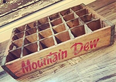 Very Rare Vintage 1974 Mountain Dew Bottling Co Wood Soda Pop Crate