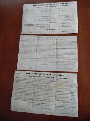 1833-35 Andrew Jackson Secretarial Signed Land Grant Lot of 3 Indiana Donelson