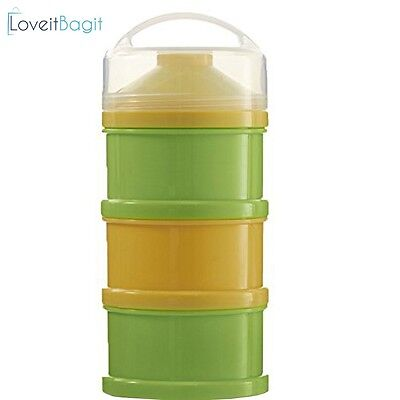Formula Milk Powder Dispenser And Snack Container (BPA Free) (Yellow Green)