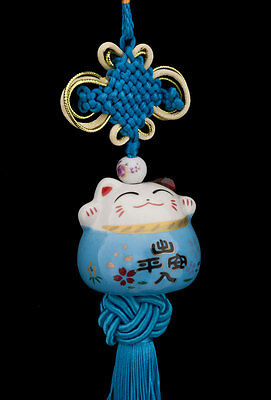 Suspension Maneki Neko-chat Japonais- Porte Bonheur-grand Modele-bleu -486-SD1