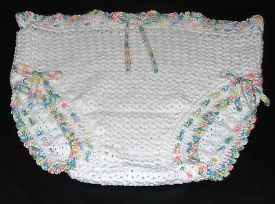Adult Baby Diaper Cover Crochet One Size Fits Most White With Pastel Trim