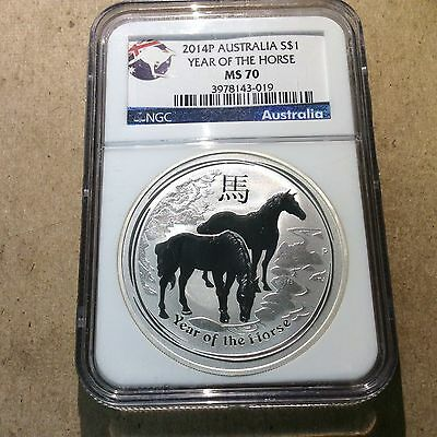 2014P AUSTRALIA YEAR OF THE HORSE 1 OZ 999 SILVER  NGC MS70 Kangaroo Label